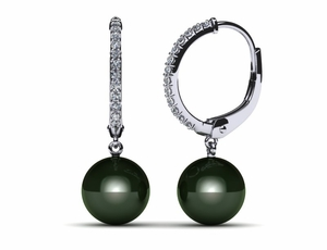 Tahitian Pearl Earring Oval Lever Back with Diamonds .27 carats t.d.w.