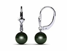 Tahitian Pearl Earring Lever Back with Fleur Design