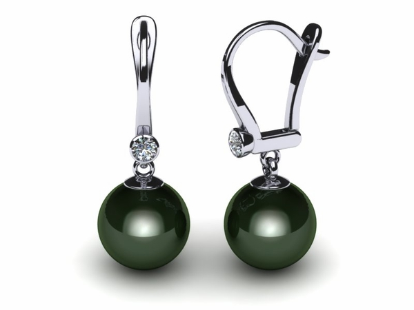 Tahitian Pearl Earring Lever Drop With Diamond
