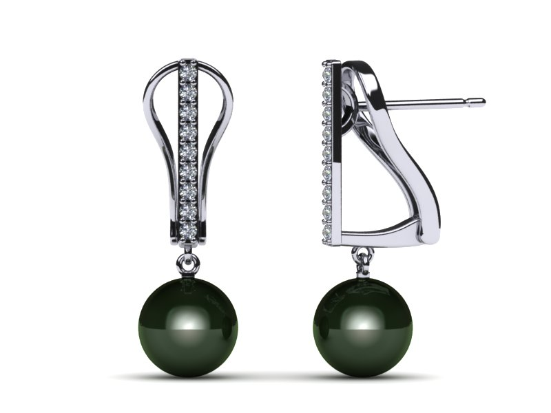 Tahitian Pearl Earring Straight Leverback with Diamonds