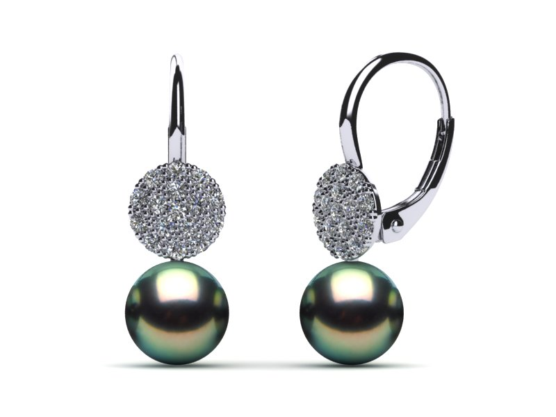 Tahitian Pearl Leverback Flower Diamond Earring