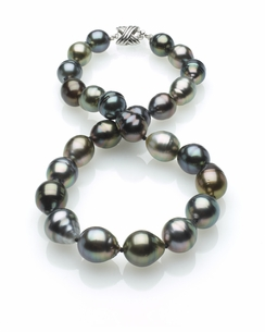 Multicolor Tahitian Baroque Pearl Necklace 11mm x 13mm TRUE AAA Quality