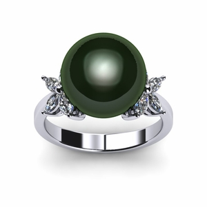 Tahitian Pearl Ring Diamond X