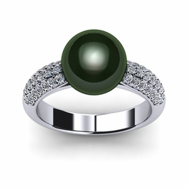 Tahitian Pearl Ring Tapered Pav�
