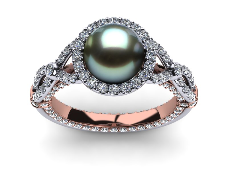 Tahitian Black Pearl Serendipity Ring 8 Mm Pearl