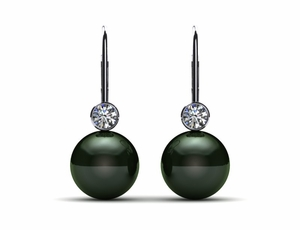 Tahitian Pearl Earring Lever Back with Diamond Bezel .40 carats t.d.w.