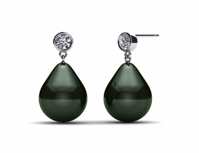 Tahitian Pearl Earring with Bezel Set Diamond and Drop Pearl