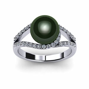 Tahitian South Sea Pearl & Diamond Luna Ring