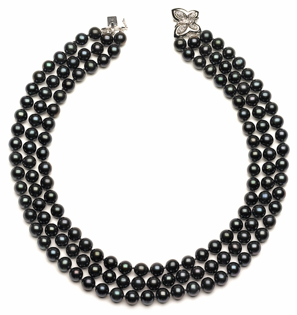 Triple Strand Black Pearls
