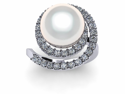 virgo a white south sea cultured pearl ring