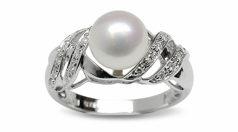 Vivian a Japanese Akoya Cultured Pearl Ring