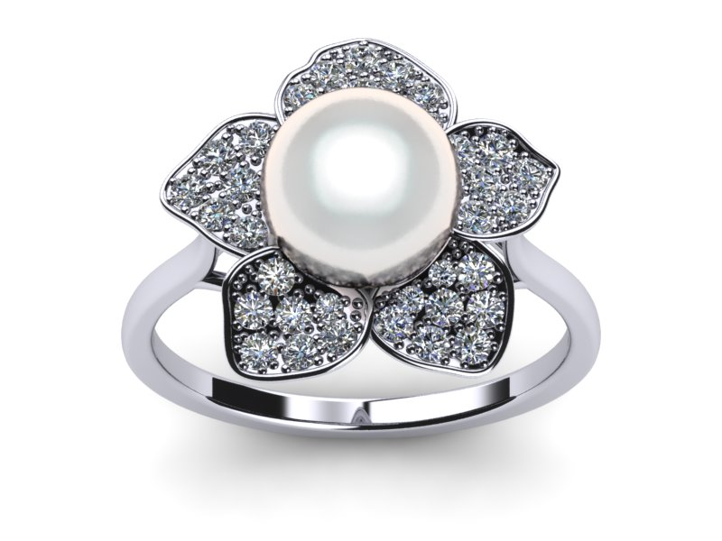 White Daffodil a South Sea Cultured Pearl Ring