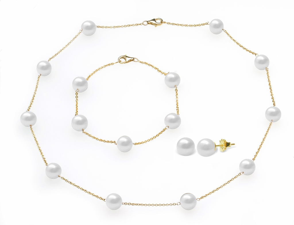 White Freshwater Tin Cup Pearl Set