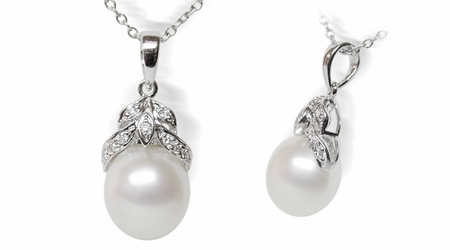 White Leaf White South Sea Pearl Pendant