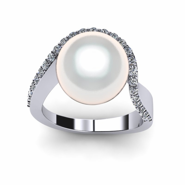 White South Sea Ocean Wave Ring