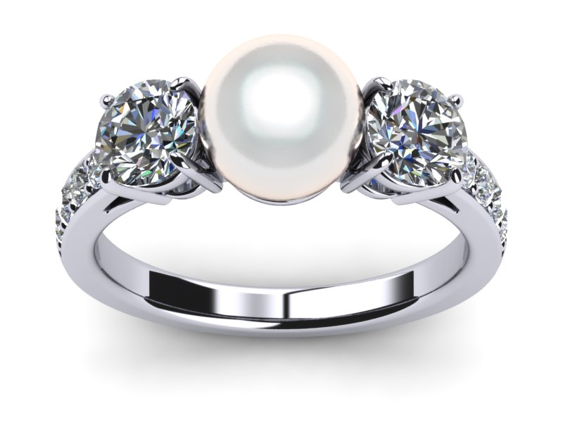 White South Sea Pave Pearl Ring