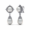 White South Sea Pearl Diamond Star Cluster Earring