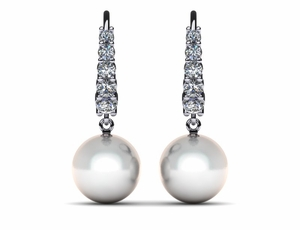 White South Sea Pearl Tapered Leverback Earring ..62 carats t.d.w.