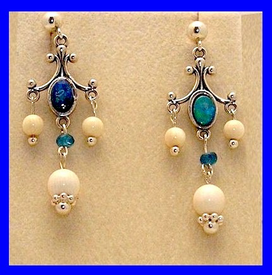 12th Century Chukchi Ceremonial Earrings IIIOpal With Mammoth Ivory Beads$67.50