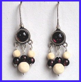 AleutSpirit DanceEarrings IGarnet and Mammoth Ivory Beads$44.50