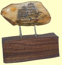 Sold!Full-Rigged Ship Charles E. MoodyScrimshaw Fossil Walrus Ivory On Bolivian Rosewood