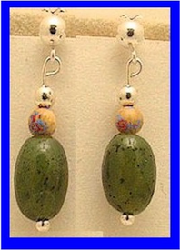 Bering Sea Yupik - Koskokwim DeltaEarrings IIICanadian Jade With Mammoth Ivory Bead$39.50