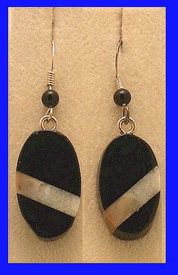 ContemporaryInlayDrop EarringsAfrican Blackwood and Fossil Walrus Ivory$29.50