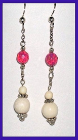Contemporary Pink Opal and Ivory EarringsPink Opal and Mammoth Ivory$34.50