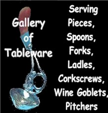 Gallery of Serving Spoons, Pitchers, Wine Goblets, Wineopeners and Accent Pieces