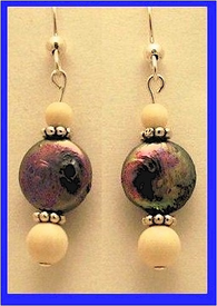 Pacific Athapascan Bead Earrings IVIridescent Freshwater Pearl and Mammoth Ivory Beads$54.50