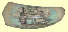 "Scrimshaw Sperm Whale's ToothPortrait:""Donald McKay's Beautiful Clipper James Baines - 1854"" Gallery Display"