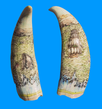 "Scrimshaw Sperm Whale Tooth ""Arctic Bowhead Whaling"" Gallery Display"