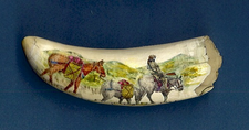 "Scrimshaw Whale's Tooth ""Mountain Man"" Gallery Display"