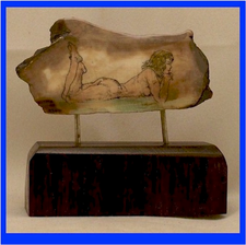 "Sold!""Reclining Nude"" Scrimshaw Fossil Walrus Ivory On Brazillian Rosewood"