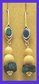 TlingitWoman Shaman'sEarrings IIIwithOpal, TurquoiseandMammoth Ivory Beads$42.50