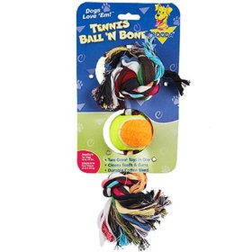Aspen Tennis Ball Rope Bone - Medium
