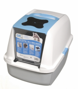Catit Hooded Cat Litter Pan, White/Blue