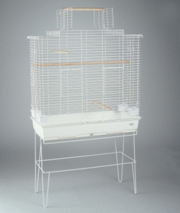 Cockatiel Playhouse w/ Stand, White Painted