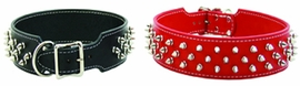 Colored Spiked Leather Dog Collar for Medium to Extra Large Dogs
