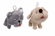 Cuddler Plush Dog Toy - Big Heads Gray Cat or Tan Dog