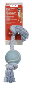 Dogit Blue Cotton Rope Bone w/Tennis Ball 15