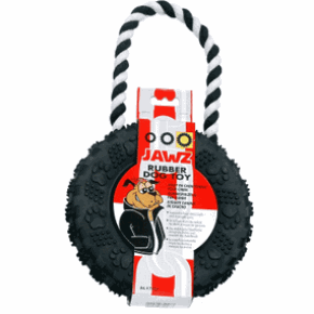 Dogit Jawz Rubber Paw Print Tire, Black with White Rope, Small