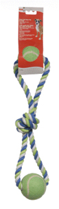 Dogit Striped Cotton Loop Tug w/2 Tennis Ball 18