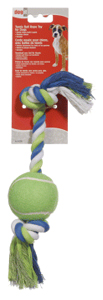 Dogit Striped Cotton Rope Bone w/Tennis Ball 15