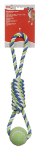 Dogit Striped Cotton Spiral Tug w Tennis Ball 18