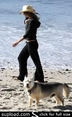 Jennifer Aniston and her Dog on the Beach
