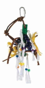 Living World Small Wood Peg w/ Ropes, Leather Strips w/ Beads
