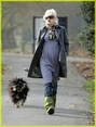 Pregnant Gwen Stefani walks her new dog in North London