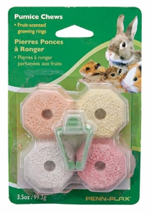Pumice-Chews� - Natural Pumice Gnawing Rings Tropical Fruit Flavored 4 Pack Includes Cage Clip