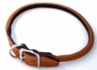 "Rolled Round Leather Dog Collar 5/8"" x 14"" Black"